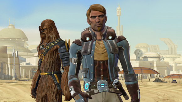 A Scoundrel and his Wookiee companion prepare to walk into a Tatooine cantina.